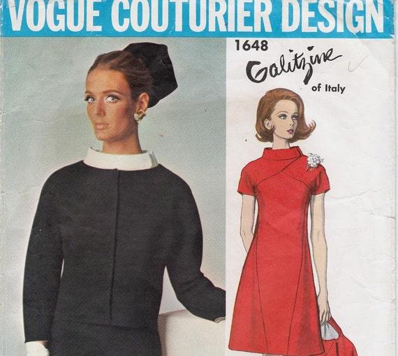 Sz 14 1960s Vintage Vogue Couturier Pattern 1648 by Galitzine Dress & Jacket Bust 34 has LABEL