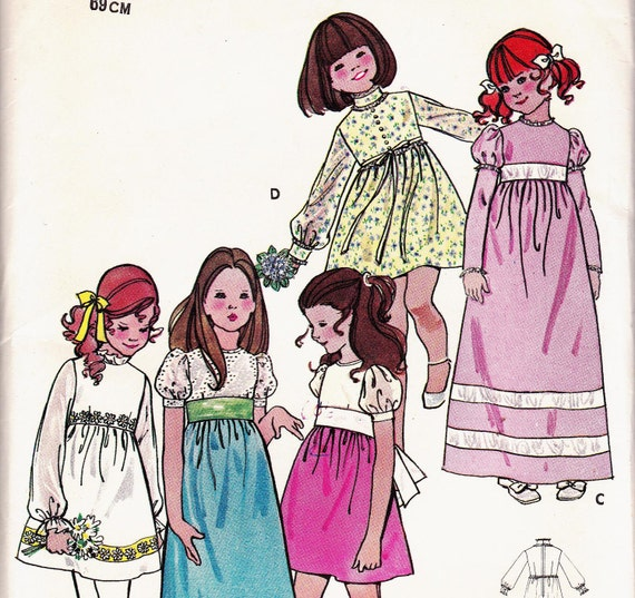 70s BOHO Babydoll Puff Sleeves High Waist Girls Dress Pattern Butterick 6063 Vintage Sewing Pattern Size 8 Breast 27 inches