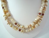 Long Mother of Pearl Necklace Long Shell Necklace Natural Ivory Mother of Pearl Beach Necklace Long Goldstone Crystal Mother of Pearl Strand