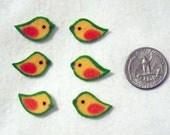 SALE! 6 Pc Retro Yellow Birds No Sew Iron On Appliques Cotton Patches