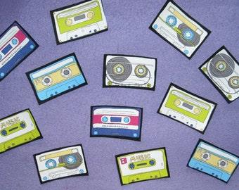 SALE! 12 Retro Cassette Tapes No Sew Iron On Appliques Cotton Patches