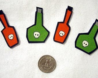SALE! Set of 4 Poison Bottle Moonshine Halloween No Sew Iron On Appliques