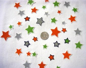 SALE! Set of 20 Stars Green Orange Gray No Sew Iron On Appliques