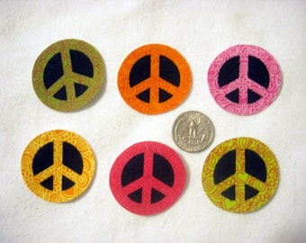 SALE! 6 Pc Retro Peace Signs No Sew Iron On Appliques Cotton Patches