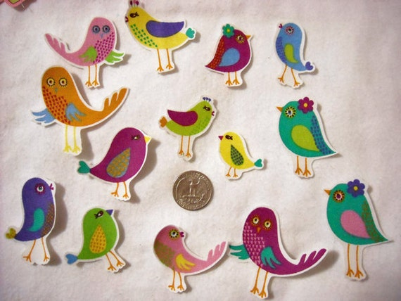 5 Pc Retro Birds No Sew Iron On Appliques Cotton Patches