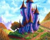 Fantasy Art Gnome Whimsical Mushroom Castle Colored Pencil Drawing Art Print - Mushroom Castle - 8 x 10