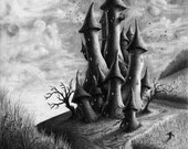 Fantasy Art Print Pencil Gnome Castle Drawing Mushroom Castle - 5 x 7