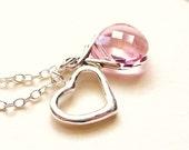 Swarovski Heart Crystal Charm Necklace, Light Rose Pink Briolette Crystal Sterling Silver Heart Lariat Charm Pendant, Valentines Day Gift