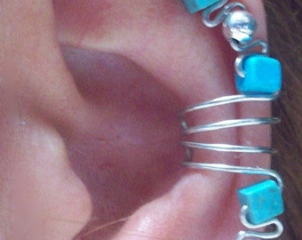Native American Inspired -Turquoise and Silver Beads Silver Wire Ear Cuff Wrap - Single