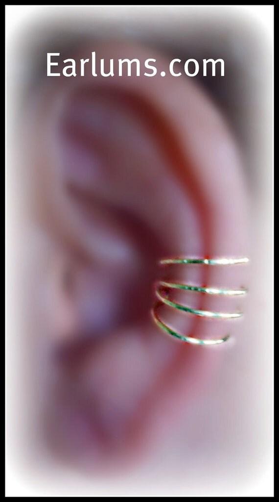 Spring Four Pierceless Ear Cuff 4 Hoops Gold Tone