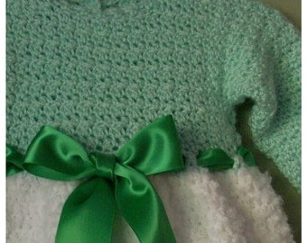 Baby Dress Green and White, Long Sleeve