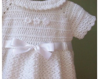 White Christening Dress with Collar, Ready to ship