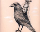 Crow Mill - Victorian Hybrid series - original surreal drawing - graphite and colored pencil on pastel colored paper