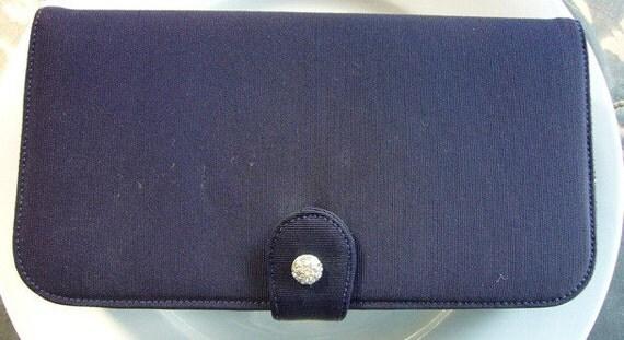 Blue Clutch Handbag Rhinestone Clasp Navy Vintage Mad Men SALE Wedding Deco Prom Formal Mid-Century Hollywood Old Mirror Coin Purse