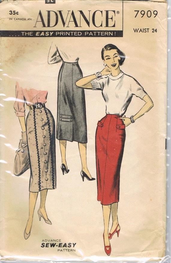 Pencil Skirt Pattern Advance 7909 1950s 1960s Vintage Sale