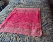 Hand Knit Baby Blanket in Pretty and Pink