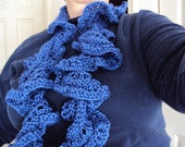Hand Knitted Flirty Ruffle Scarf in Twilight Blue made of Bamboo and Wool