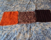 Hand Knitted Wash Cloths or Dish Cloths in Hot Orange, Shades of Desert, and Warm Brown in a Set of 3