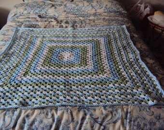Crochet Baby Blanket Blue Green and White Granny Square