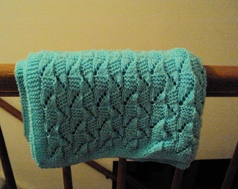 Hand Knit Baby Blanket in Popsicle Blue Slated Squares