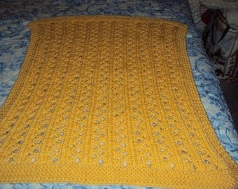 Hand Knit Duckie Yellow Lacy Ribbed Baby Blanket