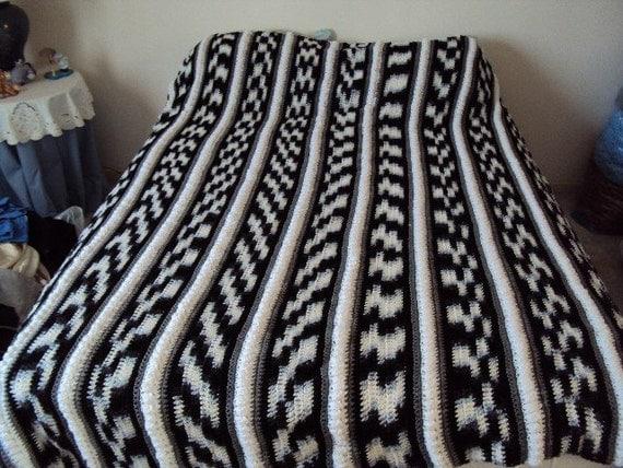 Afghan or Blanket Crochet in Black White Grey and Zebra