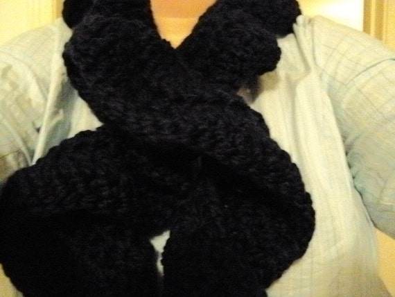 Crochet Scarf in a Flirty Ruffle Navy Blue