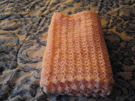 Crochet Peach Lemonade Baby Blanket 32 in X 39 in