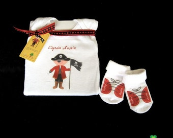 Personalized pirate themed captain newborn baby onesies - great gifts for baby shower