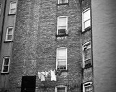 NYC summer Photography city living decor fresh air laundry apartment windows flat timeless hanging clothes - Laundry line - fine art photo