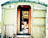 Railroad car Photograph abandoned rustic shabby celery green worn travel patina rust teal - Train to nowhere - fine art photography