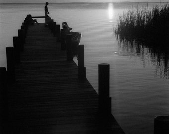 Quiet fishing Photograph pier dock pole cast isolated me time sunset water lake dad for him - His favorite fishing spot - fine art photo