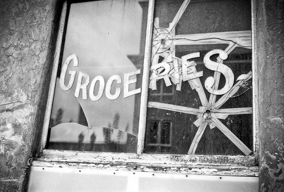 Kitchen art Photography groceries sign to do list urban city market letters broken glass shattered portland - One stop shop - fine art photo