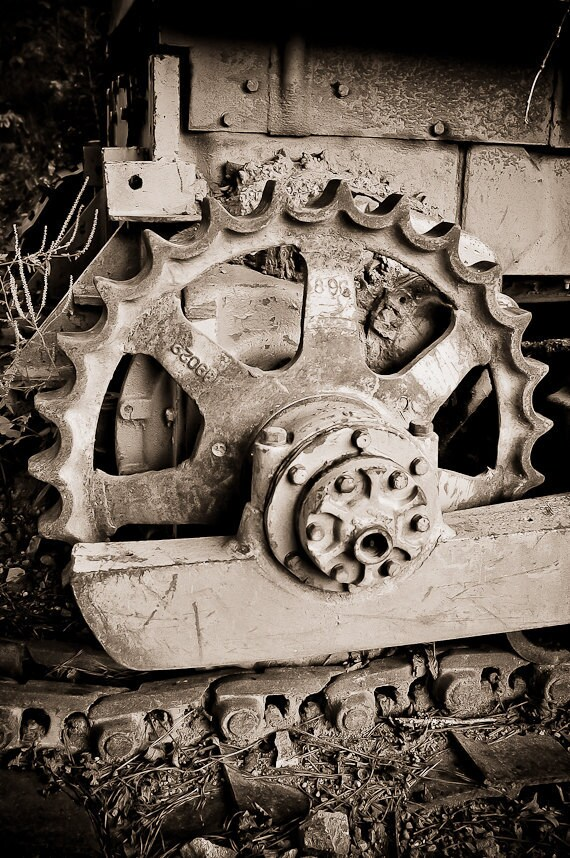 "Machine Photography gritty industrial decor wheel cog dirt sepia gear rust steel steampunk farm equipment ""Mark my path"" - fine art photo"