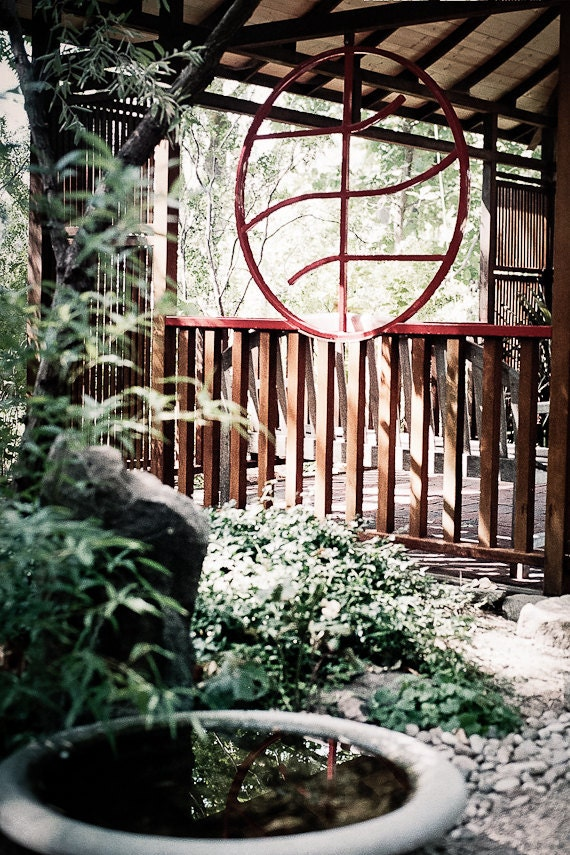 Garden Photography asian ttranquility serenity japanese meditation horticulture yoga mediate red pagoda - Zen garden - fine art photograph