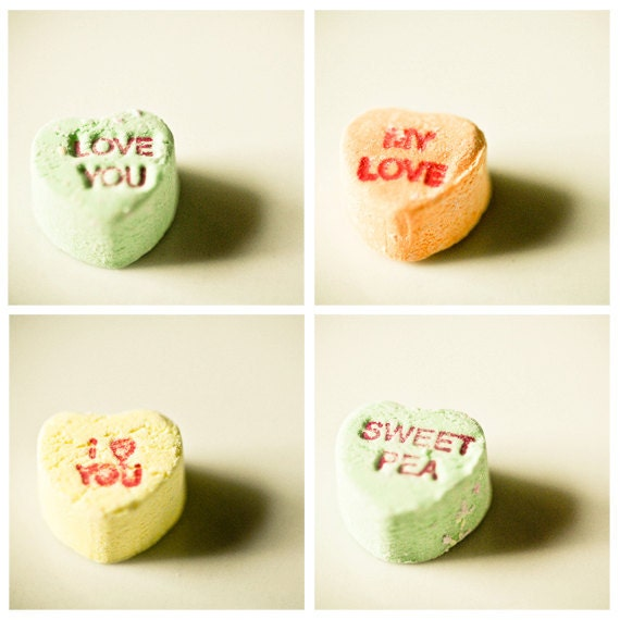 Set of 4 Photos love Candy Valentine Conversation Hearts for your sweetie 5x5 fine art photographs red letters confection gift for her him