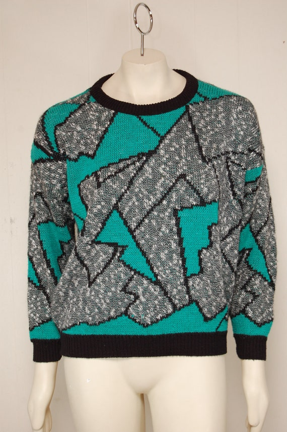 Vintage Gray and Teal Green Pullover Sweater