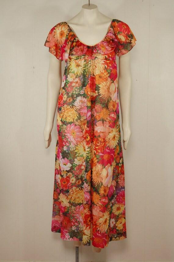 Vintage Sheer Floral Ruffle Maxi Dress