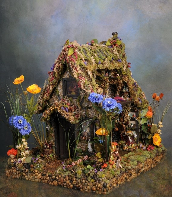 Final Payment 5 of 5 Reserved: Fairy Dollhouse Oen's Refuge Magical Fairy Tale Fantasy Dollhouse Sculpture Reserved For Miss Josie