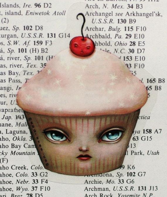 The Masochistic Cupcake - vinyl silkscreen sticker - by Mab Graves
