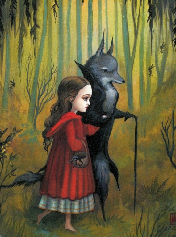 Little Red and the Wolf - A Proper Beast - Limited Edition Signed and Numbered Fine Art print by Mab Graves