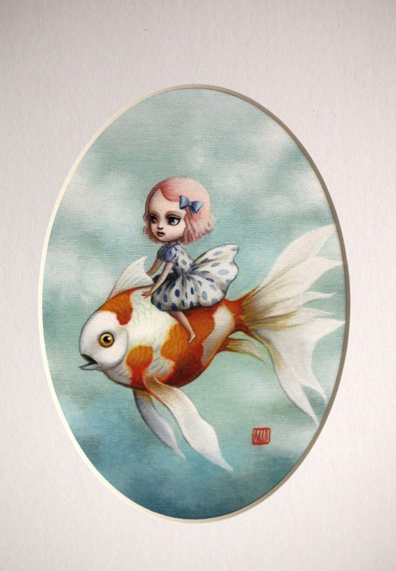 LAST ONE - Abbi and the Goldfish - Limited edition signed and numbered 5x7 Fine Art Print by Mab Graves
