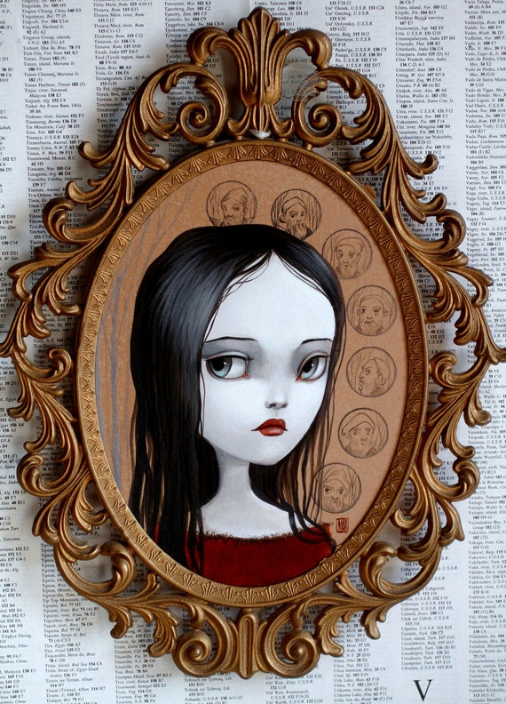Snow White and the Seven - original framed painting by Mab Graves