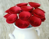 Valentines Day Gift; Romantic Red Paper Flowers; Perfect for Valentines Decor; Unique Valentine's Day Gift; 12 Red Paper Flowers