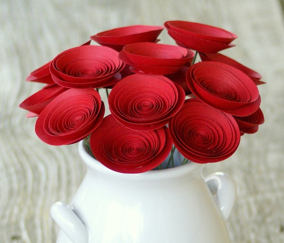 Red Holiday Paper Flowers; Perfect for Holiday Decor; Unique Christmas Gift; Medium-size Paper Flowers