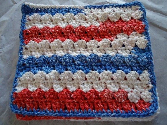 Free Shipping Red, White & Blue July 4th Cotton Crochet Wash Cloths/Pot Holder/Coster 3 Piece Set