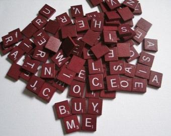 Vintage Scrabble tiles set of 25 random red wood tiles