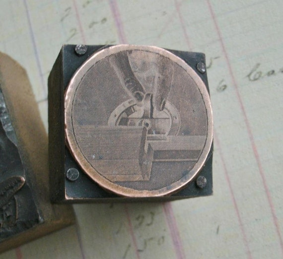 Antique Printers block copper locking plate for woodworking router