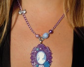 SALE and 100% DONATION to AHA // Pretty Lady Cameo Necklace - Violet
