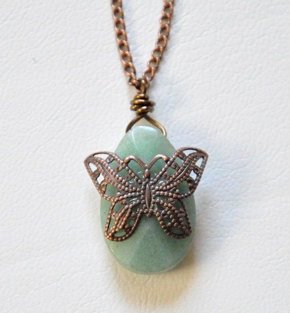 green aventurine pendant necklace filigree by